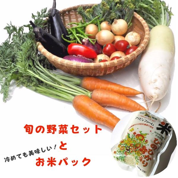 画像1: 無農薬・有機栽培 旬の野菜セットプラスお米パック 送料込 (1)